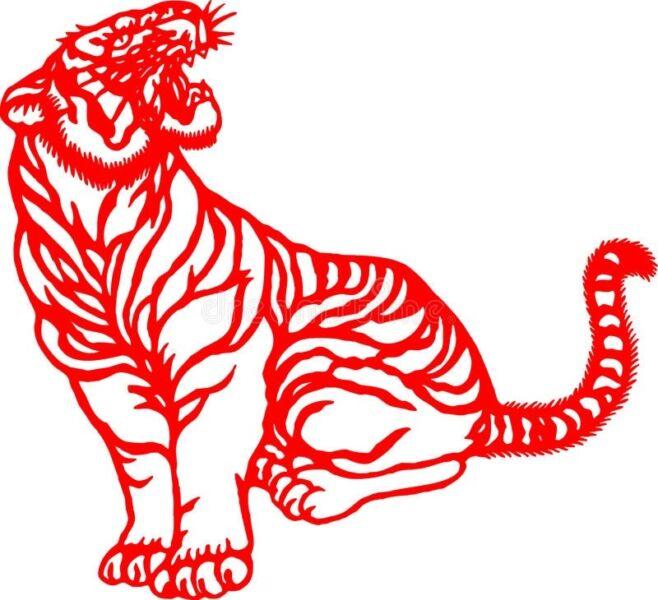 Трафареты тигра на окна для вырезания из бумаги на Новый год 2022 этап 28